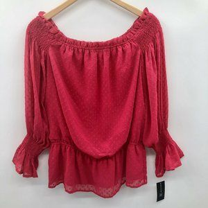 INC Textured Off the Shoulder Blouse Fuchsia 534